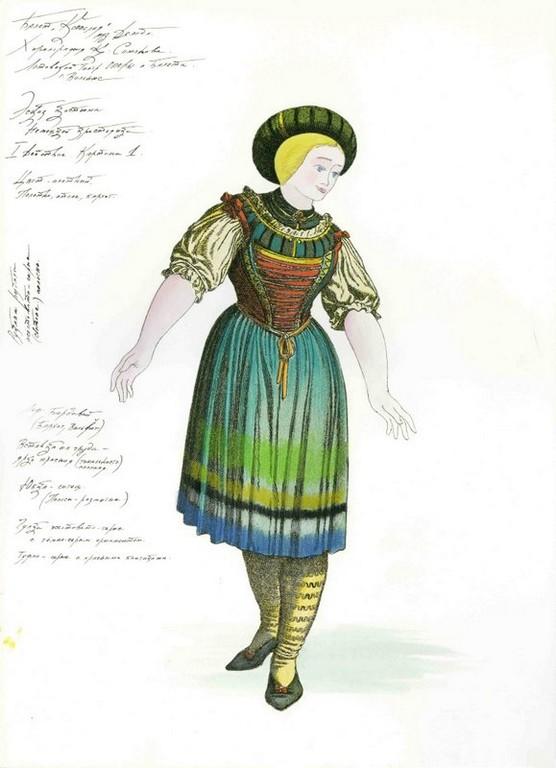 D720 Жикле Эскиз костюма немецкой крестьянки