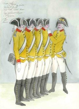 D725 Жикле Эскиз костюмов четырех солдат и первого капрала