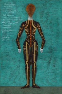 D741 Жикле Эскиз костюма манекена, неоконченной механической куклы «Олимпии» (вид сзади)