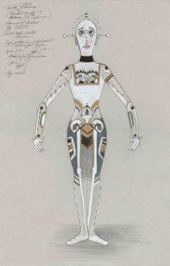 D742 Жикле Эскиз костюма неоконченной механической куклы (вид спереди)