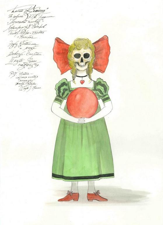 D747 Жикле Эскиз костюма и маски Девочки-Смерти