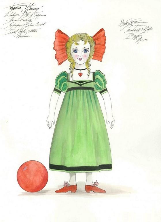 D748 Жикле Эскиз костюма и грима маленькой Клары