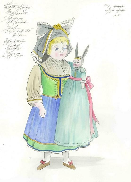 D754 Жикле Эскиз костюма девочки крестьянки