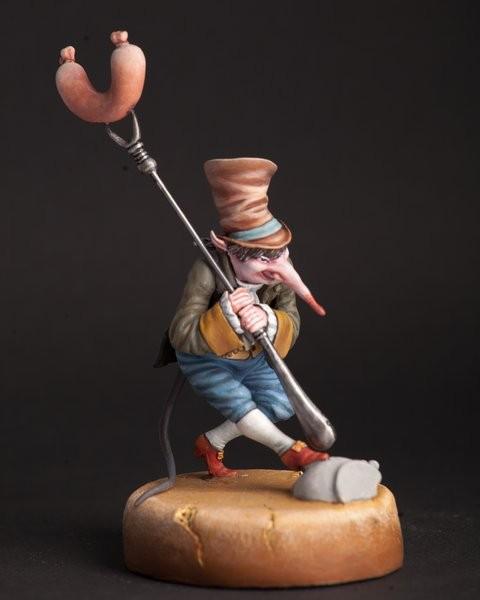 """Скульптура """"Крысёнок-воришка с колбасой и вилкой"""" 90 мм"""