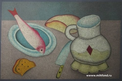 """Литография """"Натюрморт"""" с рыбой и хлебом"""