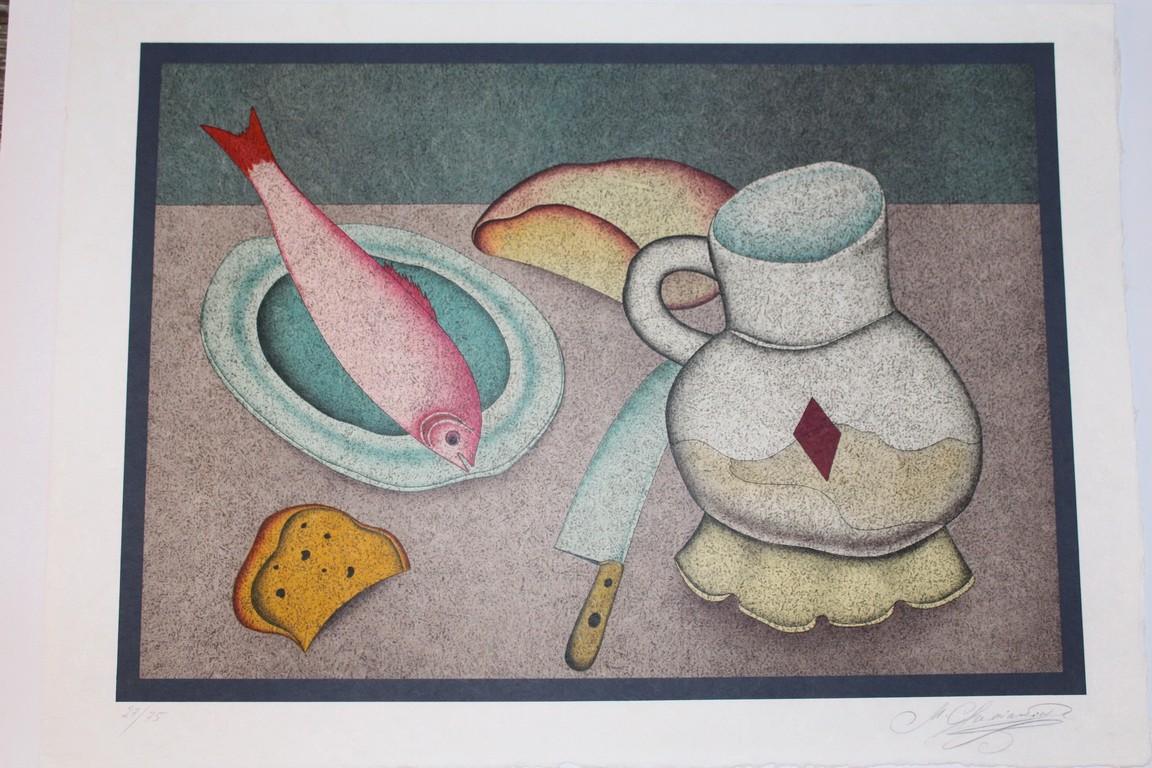 Литография натюрморт с рыбой