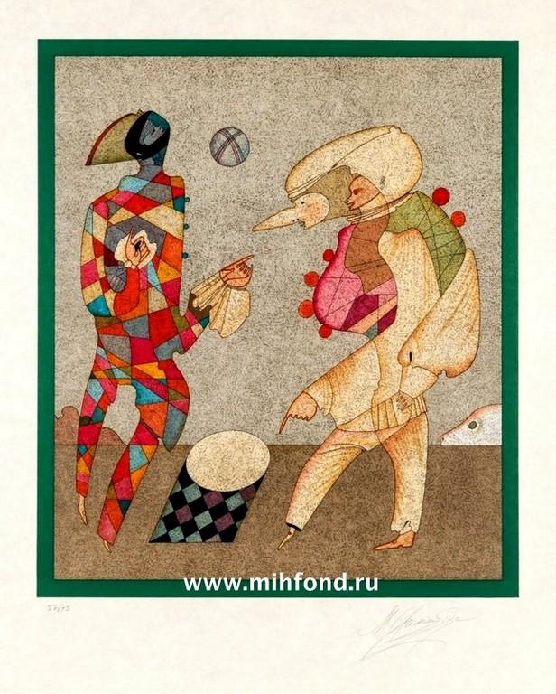 1 лист папки 5 литографий Карнавалы Санкт-Петербурга
