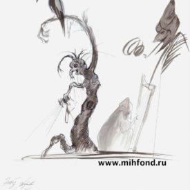 М.Шемякин, Эскиз дерева к балету Щелкунчик z019