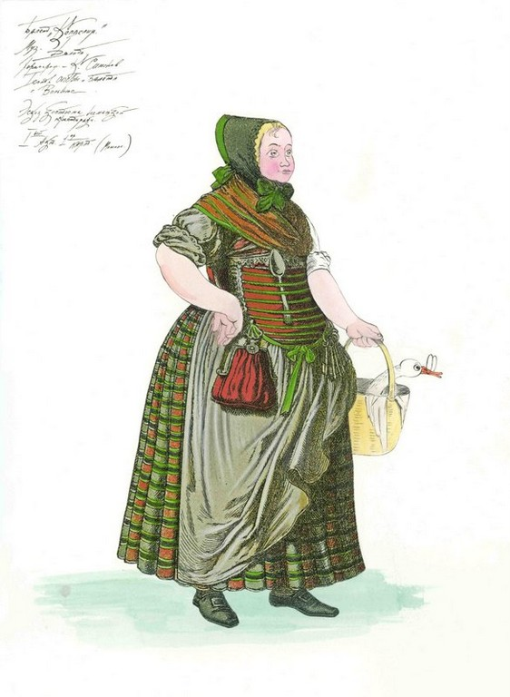D727 Жикле Эскиз костюма немецкой крестьянки