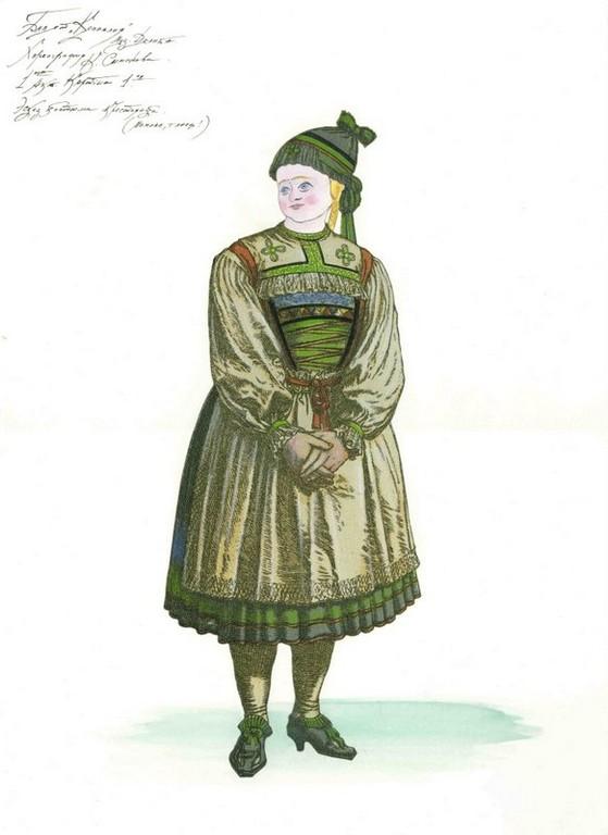 D728 Жикле Эскиз костюма крестьянки