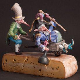 """Скульптура """"Крыс-пьяница с помощником"""" 90 мм"""
